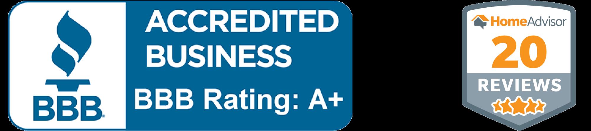 Better Business Bureau Accredited A+ Rating Home Advisor 5 star reviews